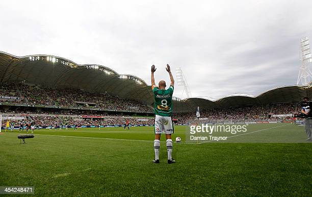 Ruben Zadkovich of Newcastle prepares for a corner kick during the round nine ALeague match between the Melbourne Victory and the Newcastle Jets at...