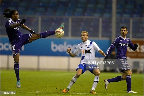 Rubenilson Dos Santos de Rocha of RSC Anderlecht battles for the ball with Jordan Remacle of KAA Gent during the Belgian Cofidis Cup match between...