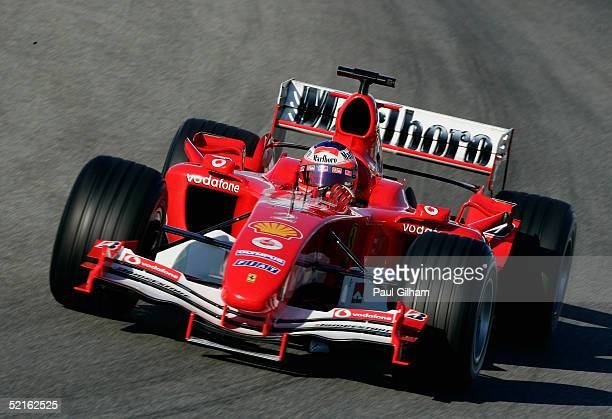 Rubens Barichello of Brazil and Ferrari in action during testing at Circuito de Jerez on February 9 2005 in Jerez Spain