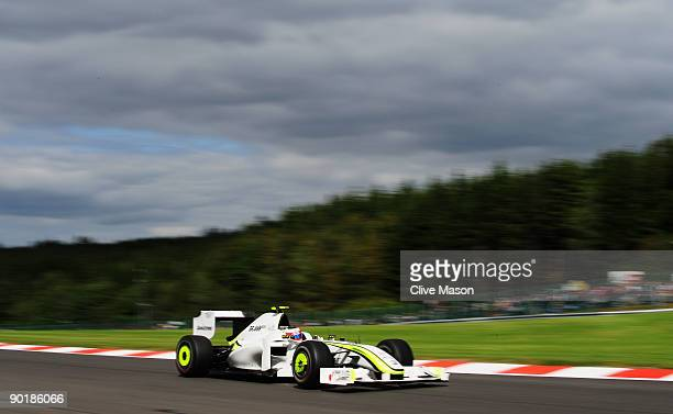 Rubens Barrichello of Brazil and Brawn GP drives during the Belgian Grand Prix at the Circuit of Spa Francorchamps on August 30 2009 in Spa...