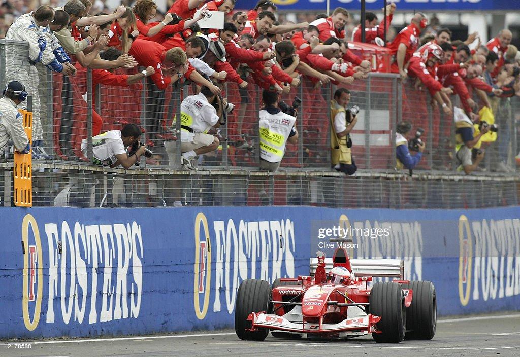 Rubens Barrichello of Brazil and Ferrari wins : News Photo