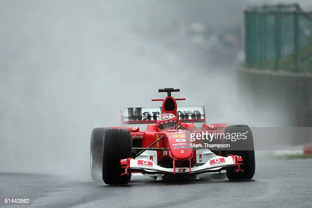 Rubens Barrichello of Brazil and Ferrari during practice for the Formula One Japanese Grand Prix at Suzuka Circuit on October 8, 2004 in Tokyo, Japan.
