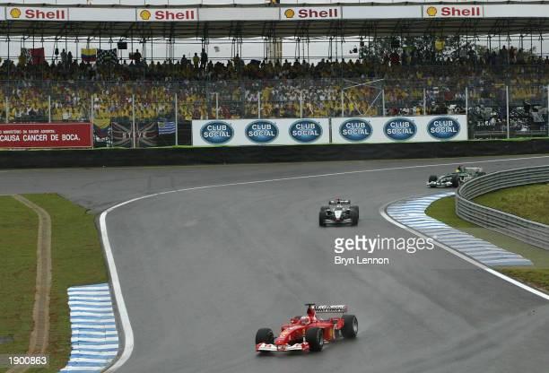 Rubens Barrichello of Brazil and Ferrari in action during the Formula One Brazilian Grand Prix at Interlagos, Sao Paulo, Brazil on April 6, 2003.