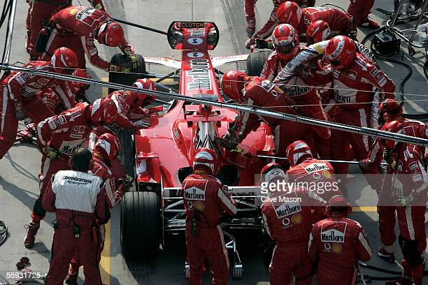 Rubens Barrichello of Brazil and Ferrari in the pit lane during the Chinese F1 Grand Prix at the Shanghai International Circuit on October 16 2005 in...