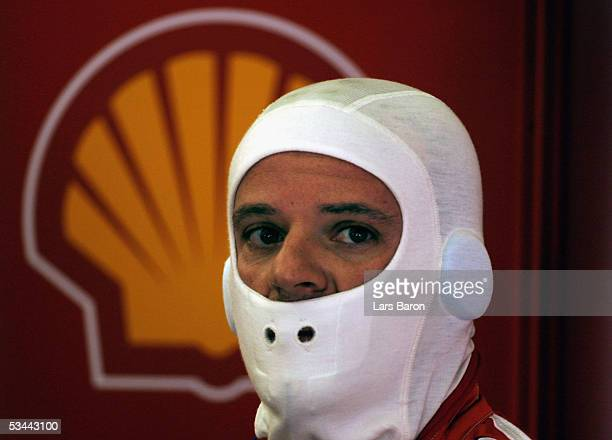 Rubens Barrichello of Brazil and Ferrari is seen during the qualifying for the Turkish F1 Grand Prix at the Istanbul Otodrome on August 20, 2005 in...