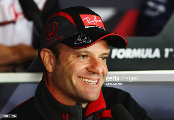 Rubens Barrichello of Brazil and Honda Racing attends the drivers press conference during previews prior to the British Formula One Grand Prix at...