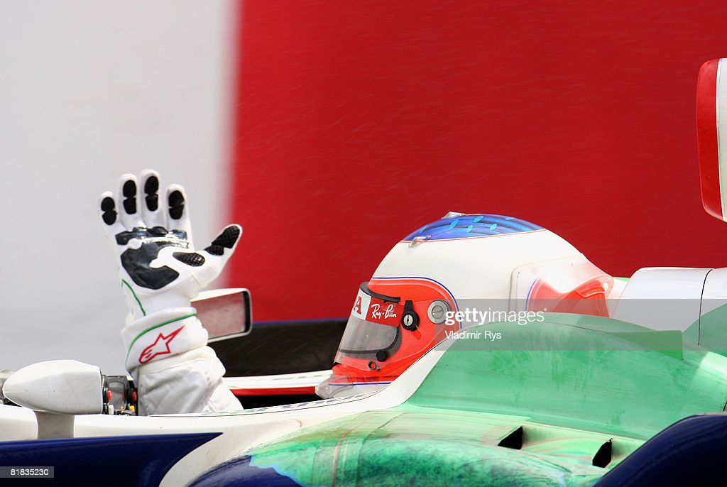 Rubens Barrichello of Brazil and Honda Racing celebrates after finishing third during the British Formula One Grand Prix at Silverstone on July 6, 2008 in Northampton, England.