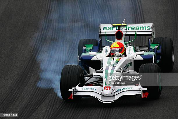 Rubens Barrichello of Brazil and Honda Racing drives during practice for the Brazilian Formula One Grand Prix at the Interlagos Circuit on October...