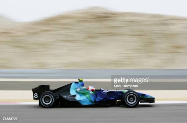 Rubens Barrichello of Brazil and Honda Racing in action during warm up session prior to qualifying for the Bahrain Formula One Grand Prix at the...