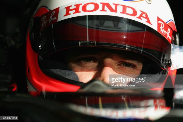 Rubens Barrichello of Brazil and Honda Racing sits in the team garage during Formula One testing at the Bahrain International Circuit on February 28...