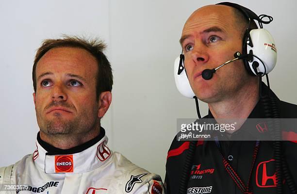 Rubens Barrichello of Brazil and Honda Racing speaks with Honda Racing Senior Race Engineer Jock Clear during practice for the Australian Formula One...