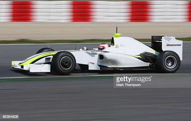 Rubens Barrichello of Brazil and team Brawn GP in action during formula one testing at the Circuit de Catalunya on March 12 2009 in Barcelona Spain