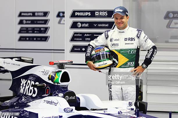 Rubens Barrichello of Brazil and Williams appears with specially designed overalls and helmet to commerorate his 300th Grand Prix before practice for...