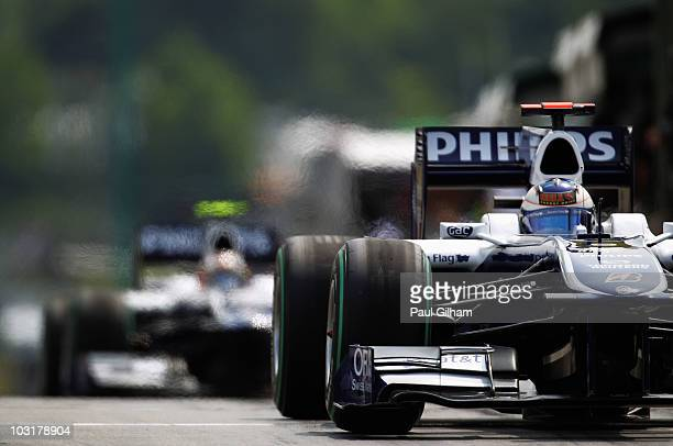Rubens Barrichello of Brazil and Williams drives during qualifying for the Hungarian Formula One Grand Prix at the Hungaroring on July 31 2010 in...