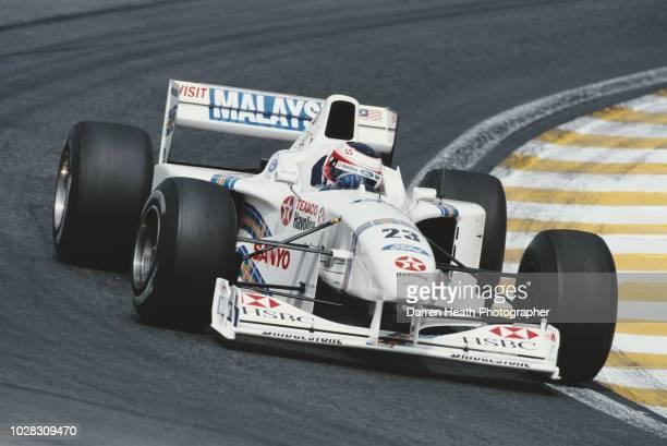 Rubens Barrichello of Brazil drives the HSBC Malaysia Stewart Ford Stewart SF01 Ford Zetec V10 during the Formula One Brazilian Grand Prix on 30...