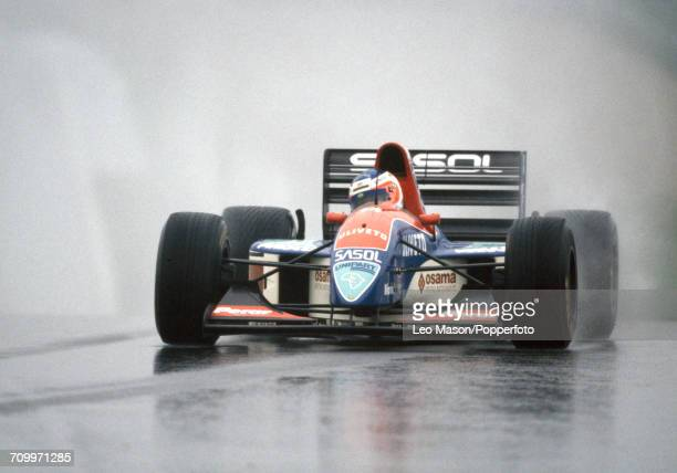 Rubens Barrichello of Brazil enroute to placing tenth driving a Jordan 193 with a Hart 1035 35 V10 engine for Sasol Jordan during the European Grand...