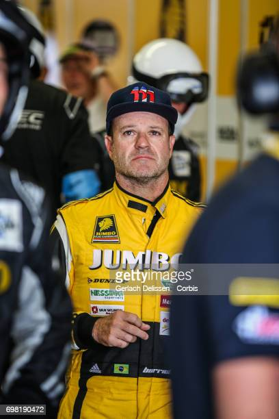 Rubens Barrichello of the LMP2 Racing Team Nederland Dallara P217Gibson waiting in the box during the Le Mans 24 Hours race on June 17 2017 in Le...
