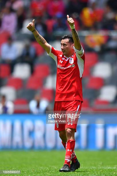 Rubens Sambueza of Toluca celebrates after scoring the second goal of his team during the 1st round match between Toluca and Morelia as part of the...
