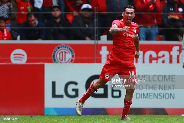 Rubens Sambueza of Toluca celebrates after scoring the second goal of his team during the quarter finals second leg match between Toluca and Morelia...