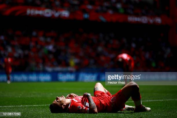 Rubens Sambueza reacts during the third round match between Toluca and Chivas as part of the Torneo Apertura 2018 Liga MX at Nemesio Diez Stadium on...