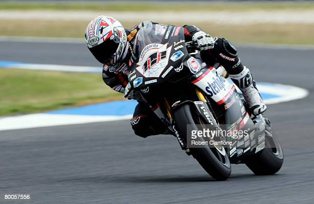 Rubens Xaus of Spain and Sterilgarda Go Eleven in action during qualifying practice for round two of the Superbike World Championship at the Phillip...