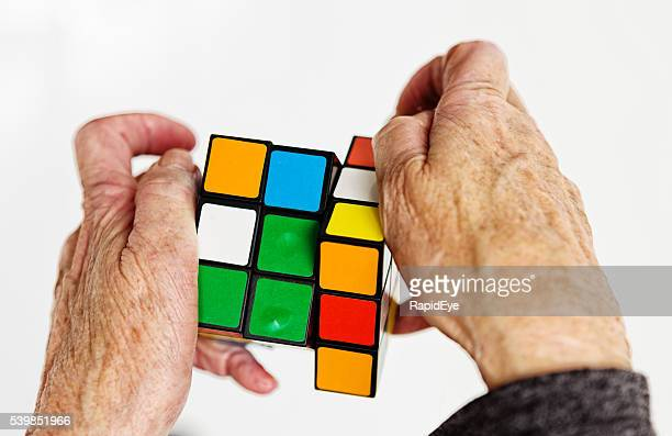 Rubiks cube, editorial, handling, old, retirement, puzzle, hands, seniors, aging