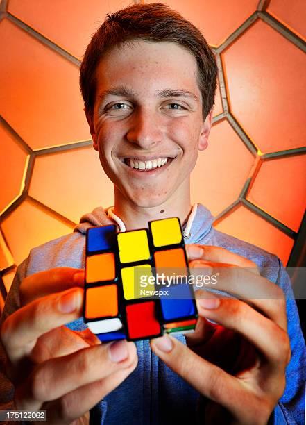 Rubiks Cube world champion Feliks Zemdegs poses for a photo on July 31 2013 in Melbourne Australia Zemdegs has returned back to Australia after...