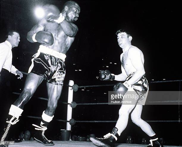 Rubin Carter in action against Harry Scott during their fight at the Royal Albert Hall in London