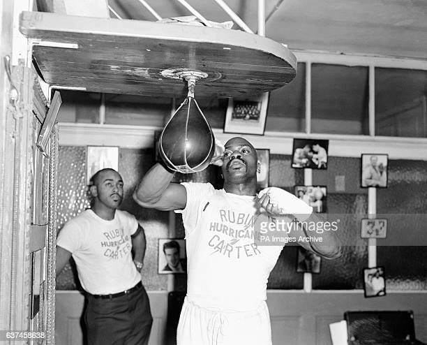 Rubin Carter working out in Joe Bloom's gym in preparation for his fight against Harry Scott at the Royal Albert Hall