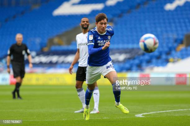 Rubin Colwill of Cardiff City FC during the Sky Bet Championship match between Cardiff City and Rotherham United at Cardiff City Stadium on May 8,...