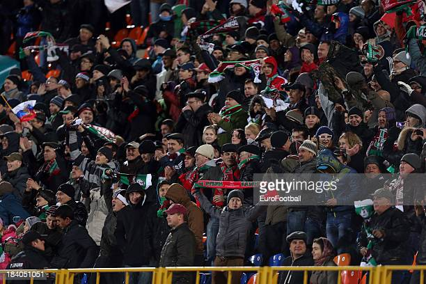 Rubin Kazan supporters during the UEFA Europa League group stage match between FC Rubin Kazan and SV Zulte Waregem held on October 3 2013 at the...