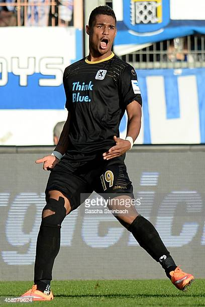 Rubin Okotie of Muenchen celebrates after scoring the opening goal during the 2 Bundesliga match between VfL Bochum and 1860 Muenchen at Rewirpower...
