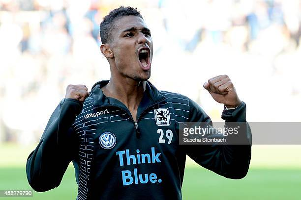 Rubin Okotie of Muenchen reacts after winning the 2 Bundesliga match against VfL Bochum at Rewirpower Stadium on November 2 2014 in Bochum Germany
