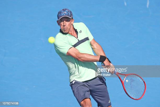 Rubin Statham of New Zealand plays a backhand in his Mens Singles match against Hyeon Chung of Korea during the 2019 ASB Classic at the ASB Tennis...