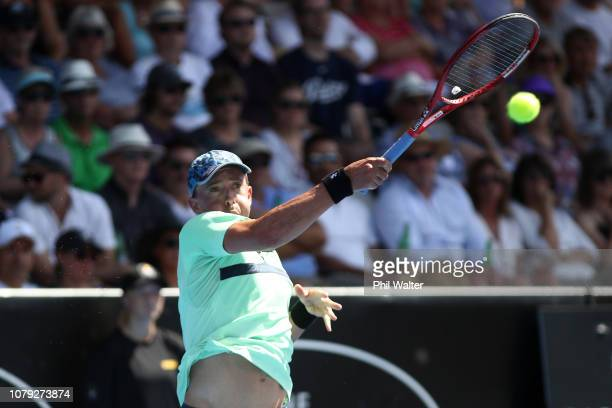 Rubin Statham of New Zealand plays a forehand in his Mens Singles match against Hyeon Chung of Korea during the 2019 ASB Classic at the ASB Tennis...