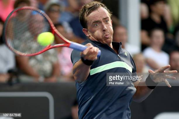 Rubin Statham of New Zealand plays a forehand in his Mens Singles match against JanLennard Struff of Germany during the 2019 ASB Classic at the ASB...