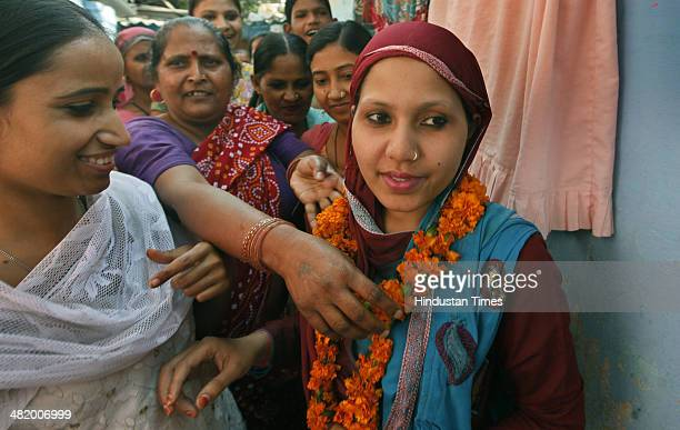 Rubina Khan housewife and an Independent Candidate from New Delhi campaigns for Lok Sabha Elections 2014 at Andrews Ganj Area on April 2 2014 in New...
