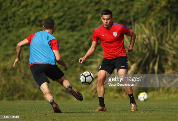 Rubio Rubin looks to defend during the US Men's National Soccer Team training session at StubHub Center on January 16 2018 in Carson California