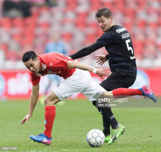 Rubio Rubin of Silkeborg and Mads Agesen of Randers FC compete for the ball during the Danish Alka Superliga match between Silkeborg IF and Randers...