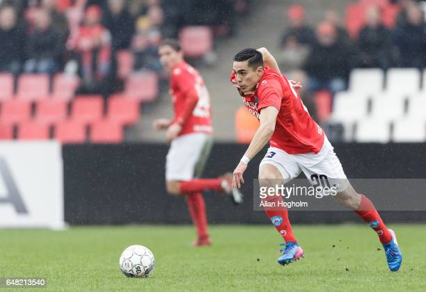 Rubio Rubin of Silkeborg controls the ball during the Danish Alka Superliga match between Silkeborg IF and Randers FC at Mascot Park on March 5 2017...