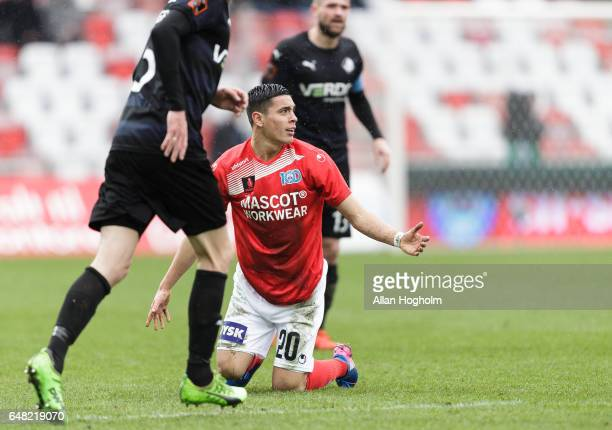 Rubio Rubin of Silkeborg in action during the Danish Alka Superliga match between Silkeborg IF and Randers FC at Mascot Park on March 5 2017 in...