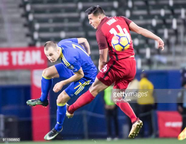 Rubio Rubin of the United States battles Darko Todorovic of Bosnia Herzegovina during the international friendly match between the United States and...