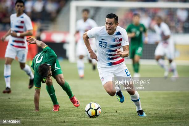 Rubio Rubin of the US Men's National Team gets past Carlos Anez of the Bolivia National team during the International Friendly Match between United...