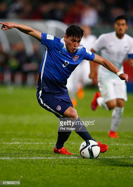 Rubio Rubin of the USA attempts a shot at goal during the FIFA U20 World Cup New Zealand 2015 Group A match between New Zealand and the United States...
