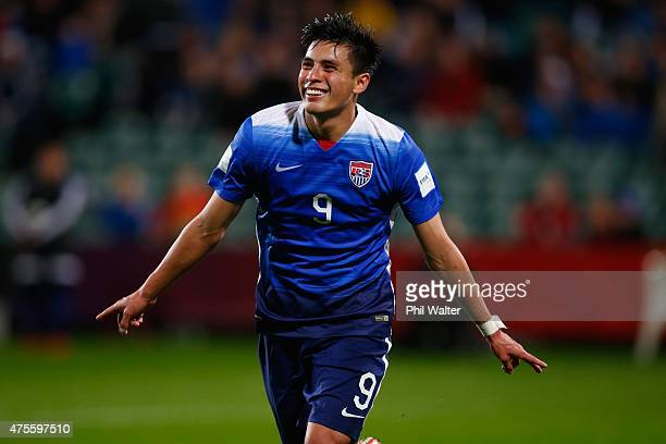 Rubio Rubin of the USA celebrates his goal during the FIFA U20 World Cup New Zealand 2015 Group A match between New Zealand and the United States at...