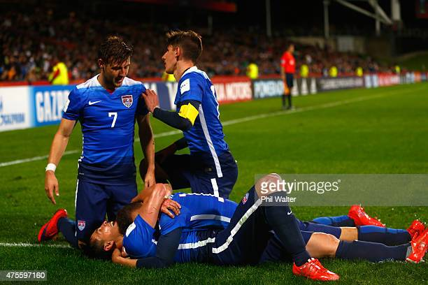 Rubio Rubin of the USA is congratulated on his goal during the FIFA U20 World Cup New Zealand 2015 Group A match between New Zealand and the United...