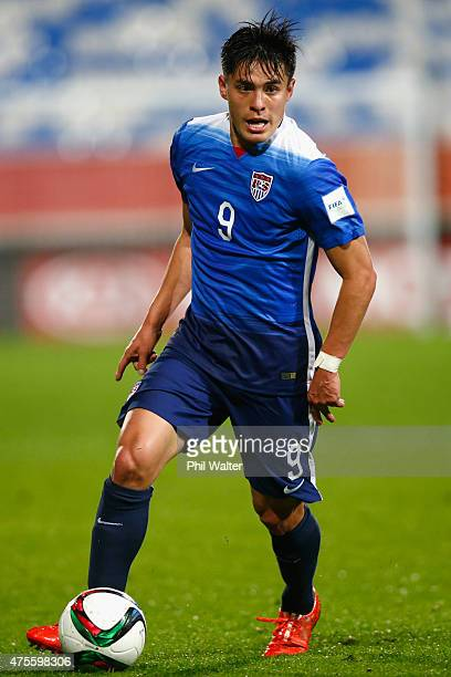 Rubio Rubin of the USA takes the ball forward during the FIFA U20 World Cup New Zealand 2015 Group A match between New Zealand and the United States...