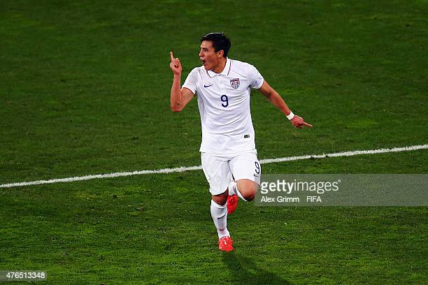 Rubio Rubin of USA celebrates his team's first goal during the FIFA U20 World Cup New Zealand 2015 Round of 16 match between USA and Colombia at...