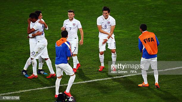 Rubio Rubin of USA celebrates his team's first goal with team mates during the FIFA U20 World Cup New Zealand 2015 Round of 16 match between USA and...