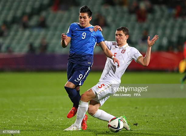 Rubio Rubin of USA is tackled Milos Veljkovic of Serbia during the FIFA U20 World Cup Quarter Final match between USA and Serbia at the North Harbour...